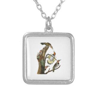 Golden-winged Woodpecker Audubon Birds of America Square Pendant Necklace