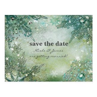 Golden Winter Elegant Snowflakes Save the date Postcard