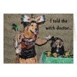 Golden Witch Doctor Cooks Halloween Shrunken Head Greeting Card