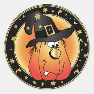 Golden Witch Pumpkin | Halloween Classic Round Sticker