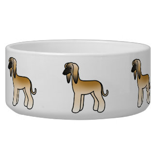 Golden With Black Mask Afghan Hound Cartoon Dog Bowl