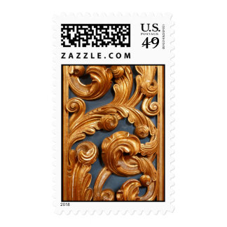 Golden Wood Carving Pattern Postage