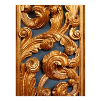 Golden Wood Carving Pattern Postcard