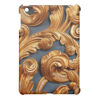 Golden Wood Carving Pern Cover For The iPad Mini