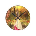 Golden Woodlands Round Clock