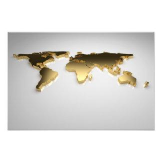 Golden World Map On Gray Background, 3d Render Photo Print