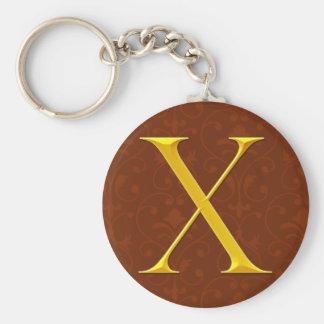 Golden X Monogram Key Chains