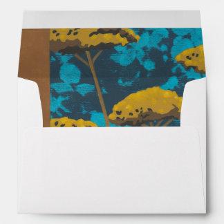 Golden Yarrow Garden with Blue Background Envelope