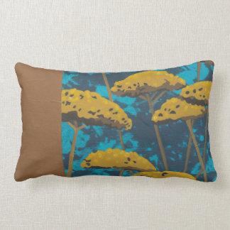 Golden Yarrow Garden with Blue Background Throw Pillow