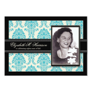 Golden Years Damask Birthday Party Invite (aqua)