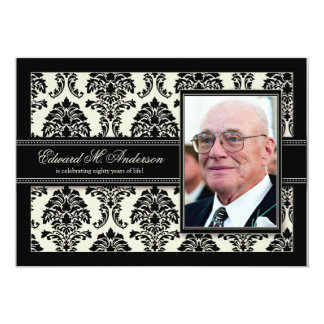 Golden Years Damask Birthday Party Invite (black)