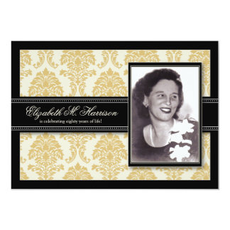 Golden Years Damask Birthday Party Invite (gold)