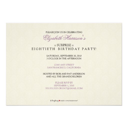 Golden Years Damask Birthday Party Invite (lilac) (back side)