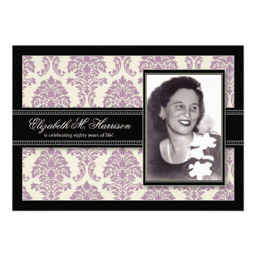 Golden Years Damask Birthday Party Invite (lilac) (front side)