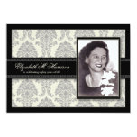"""Golden Years Damask Birthday Party Invite (silver) 5"""" X 7"""" Invitation Card"""
