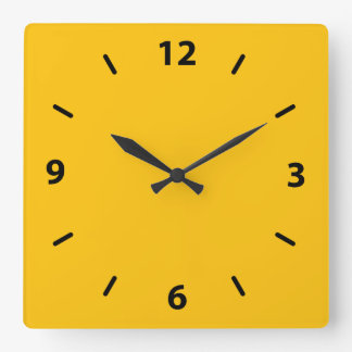 Golden Yellow Amber Color Accent Square Wall Clock