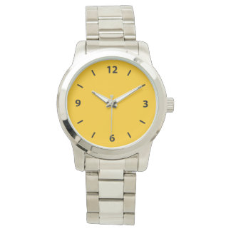 Golden Yellow Amber Color Accent Wristwatches