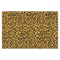 Golden Yellow and Black Leopard Animal Print Tissue Paper