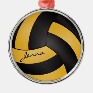 Golden Yellow and Black Personalize Volleyball Round Metal Christmas Ornament