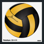 """Golden Yellow and Black Personalize Volleyball Wall Decal<br><div class=""""desc"""">Volleyball Sport Wall Decal featured in a golden yellow and black sporty design with diy text. 100% Customizable. Ready to Fill in the box(es) or Click on the CUSTOMIZE button to add, move, delete, resize or change any of the font or graphics. Made with high resolution vector and/or digital graphics...</div>"""
