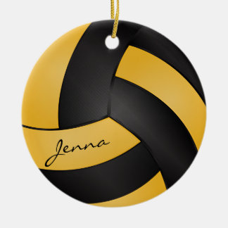 Golden Yellow and Black Volleyball | DIY Name Double-Sided Ceramic Round Christmas Ornament