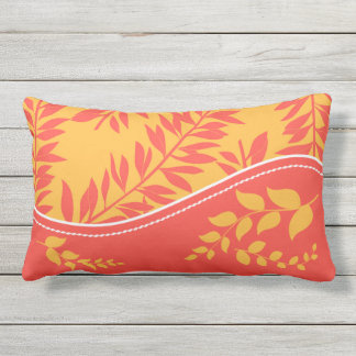 Golden Yellow and Coral Cabana Collection Monogram Outdoor Pillow