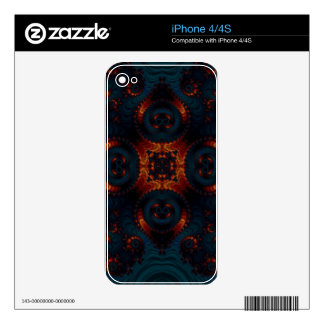 Golden Yellow And Deep Blue Fractal Twists iPhone 4 Decals