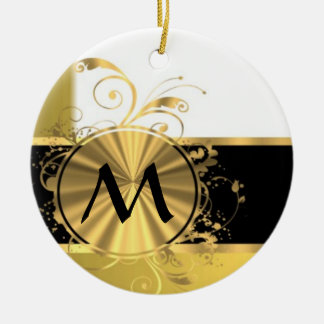 Golden yellow and gold ceramic ornament