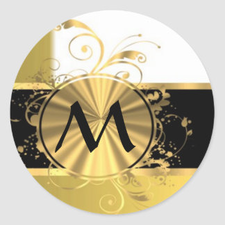 Golden yellow and gold classic round sticker