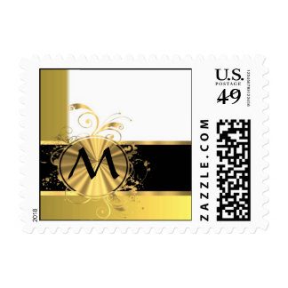 Golden yellow and gold postage stamp