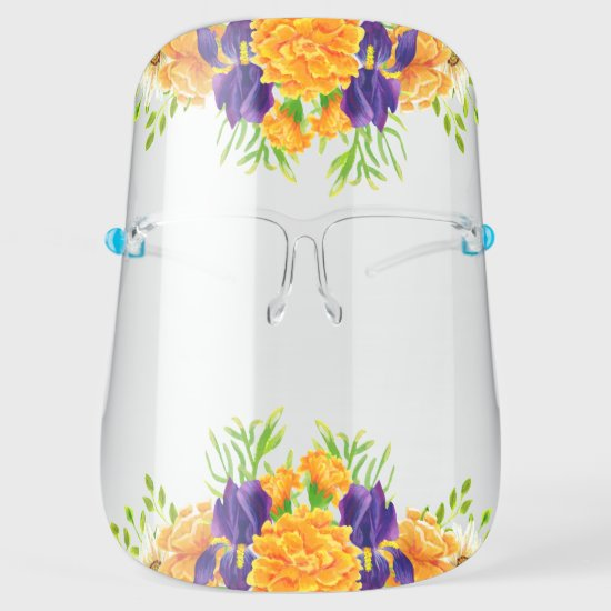 Golden Yellow and Purple Watercolor Flowers Face Shield