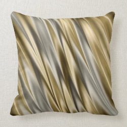 Golden yellow and silver grey satin style stripes pillow