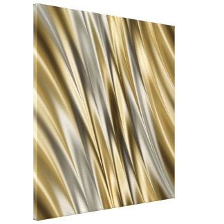 Golden yellow and silver grey stripes canvas print