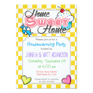 """Golden Yellow and White Checkered Squares 4.5"""" X 6.25"""" Invitation Card"""