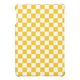 Golden Yellow and White Checkered Squares iPad Mini Case