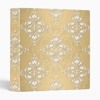 Golden Yellow and White Damask Pattern Binder