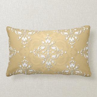 Golden Yellow and White Damask Pattern Lumbar Pillow