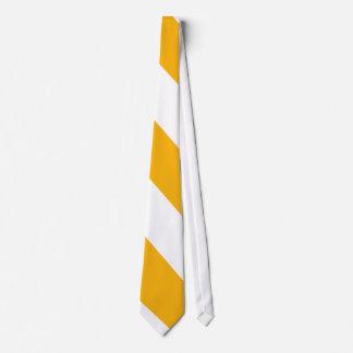 Golden Yellow and White Diagonal-Striped Tie