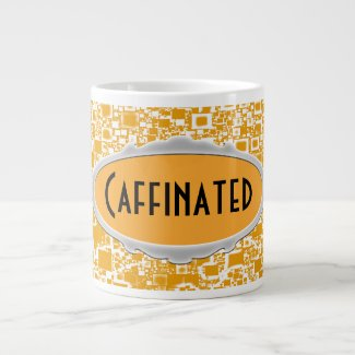 Golden Yellow and White Mini Tile Design Jumbo Mug