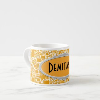 Golden Yellow and White Tile Design Espresso Mugs