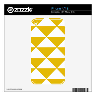 Golden Yellow and White Triangles Decals For iPhone 4S