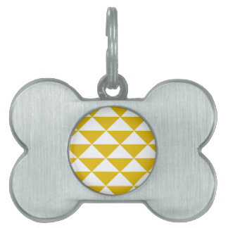 Golden Yellow and White Triangles Pet Tag