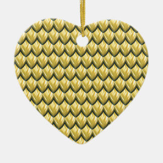 Golden Yellow Armor Texture. Stunning.Scales Double-Sided Heart Ceramic Christmas Ornament