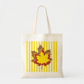Golden Yellow Autumnal Stripes with Leaves Tote Bag
