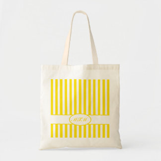 Golden Yellow Autumnal Stripes with monogram Tote Bag