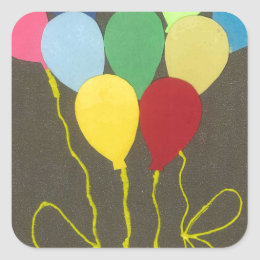 Golden Yellow Birthday Square Sticker
