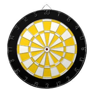 Golden Yellow Black And White Dartboard With Darts