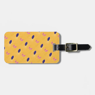 Golden Yellow, Blue, Pink Leaf Print Bag Tag