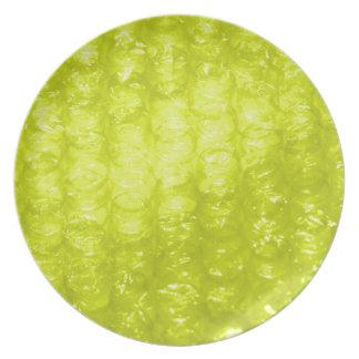 Golden Yellow Bubble Wrap Effect Dinner Plate