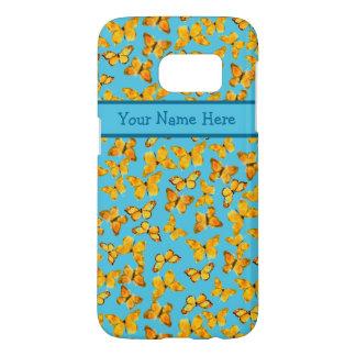 Golden Yellow Butterflies on Sky Blue Samsung Galaxy S7 Case